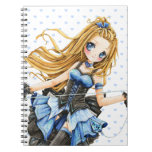 Beautiful anime girl in blue dress spiral note book