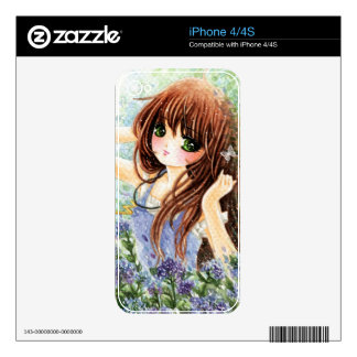 Beautiful anime girl in blue flowers garden iPhone 4S decal