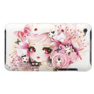 Beautiful anime girl with cute bunnies and flowers barely there iPod case