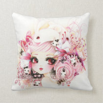 Beautiful anime girl with cute bunnies and flowers throw pillow