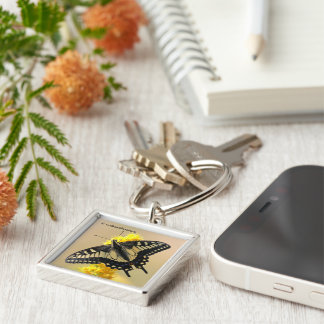 Beautiful Anise Swallowtail Butterfly in the Sun Keychain