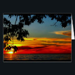"""Beautiful Anniversary From Sunrise To Sunset Card<br><div class=""""desc"""">An orange,  gold and blue lake sunset,  framed by tree branches,  is the subject of my &quot;Wishing You An Anniversary That Is Beautiful From Sunrise To Sunset&quot; anniversary card.  I captured this scene along the shoreline of beautiful Lake Winnebago in Quinney,  Wisconsin.</div>"""