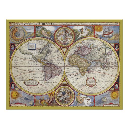 Beautiful Antique and Vintage old world Map Poster Zazzle