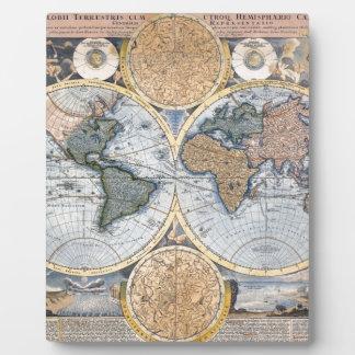 Beautiful Antique Atlas Map Display Plaque