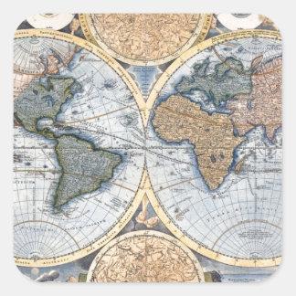 Beautiful Antique Atlas Map Square Sticker