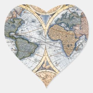 Beautiful Antique Atlas Map Heart Sticker