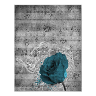 Beautiful antique blue rose paint splatter music card
