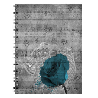 Beautiful antique blue rose paint splatter notebooks