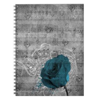 Beautiful antique blue rose paint splatter spiral notebook