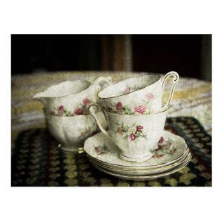 beautiful antique china cups postcard