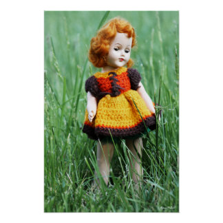 Beautiful Antique Doll with Old Crochet Dress Print