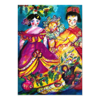 BEAUTIFUL ANTIQUE DOLLS ,red blue purple yellow Card