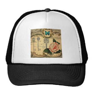 beautiful antique floral and butterfly design trucker hat