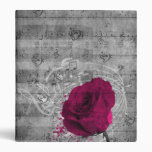 Beautiful antique hot pink rose paint splatter vinyl binders