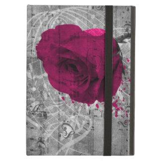 Beautiful antique hot pink rose paint splatter iPad air covers