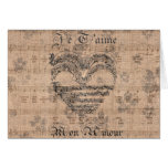 Beautiful antique music notes heart card