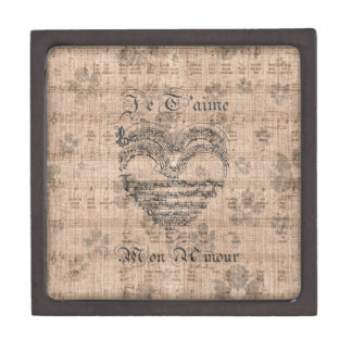 Beautiful antique music notes heart jewelry box