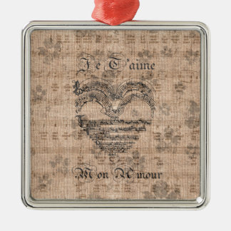 Beautiful antique music notes heart metal ornament