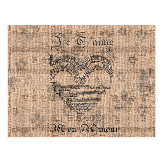 Beautiful antique music notes heart postcard