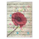 Beautiful antique poppy flower music notes greeting card