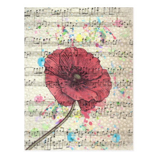 Beautiful antique poppy flower music notes postcard