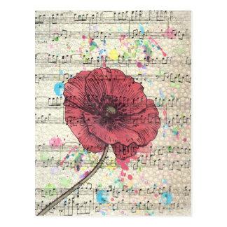 Beautiful antique poppy flower music notes postcard
