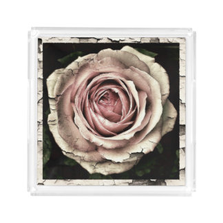 beautiful antique rose acrylic tray