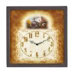 Beautiful Antique Train Grandfather Clock Gift Box Premium Jewelry Box
