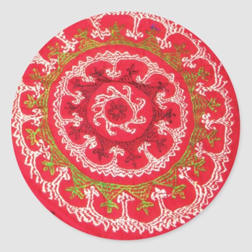 Beautiful Antique Turkish Kilim circa 1750 Classic Round Sticker