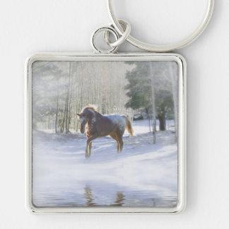 Beautiful Appaloosa Horse in the Snow Key Chain