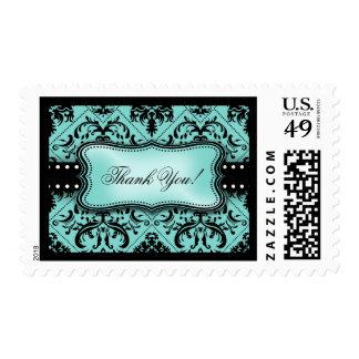 Beautiful Aqua blue and Black Damask Thank You! Postage