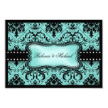 Beautiful Aqua Blue & Black Damask RSVP Cards Personalized Invitations