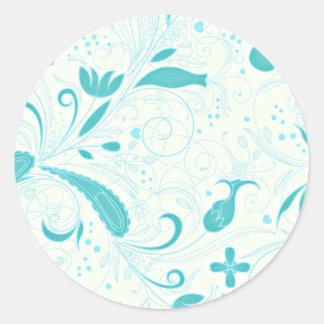 Beautiful aqua blue floral wedding gift classic round sticker