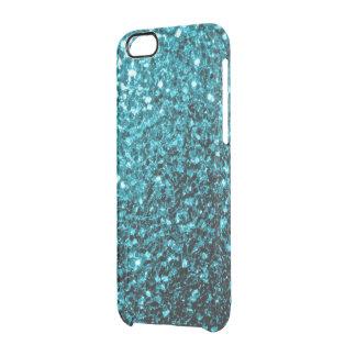 Beautiful Aqua blue glitter sparkles Clear iPhone 6/6S Case