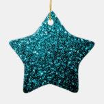 Beautiful Aqua blue glitter sparkles Double-Sided Star Ceramic Christmas Ornament