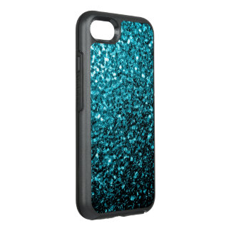 Beautiful Aqua blue glitter sparkles OtterBox Symmetry iPhone 7 Case