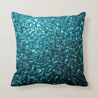 Beautiful Aqua blue glitter sparkles PLdesign Throw Pillow