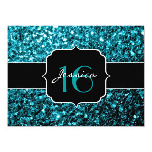 Beautiful Aqua blue glitter sparkles 5.5x7.5 Paper Invitation Card