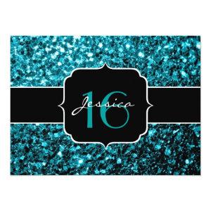 Beautiful Aqua blue glitter sparkles 5.5x7.5 Paper Invitation Card