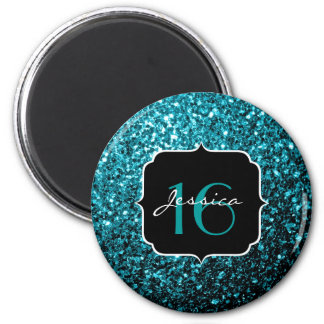 Beautiful Aqua blue glitter sparkles Sweet 16 Magnet