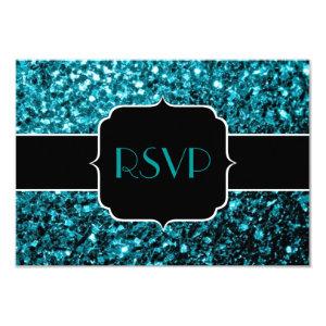 Beautiful Aqua blue glitter sparkles RSVP 3.5x5 Paper Invitation Card
