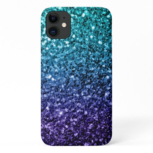 Beautiful Aqua blue Ombre glitter sparkles iPhone 11 Case