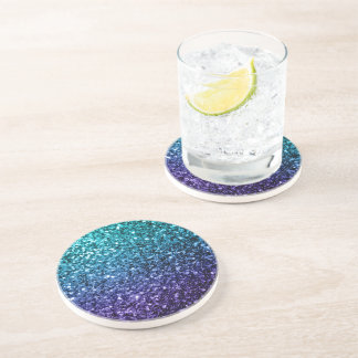 Beautiful Aqua blue Ombre glitter sparkles Drink Coaster