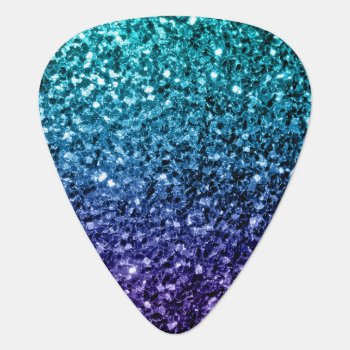 Beautiful Aqua Blue Ombre Glitter Sparkles Guitar Pick by PLdesign at Zazzle