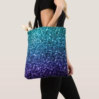Beautiful Aqua blue Ombre glitter sparkles Tote Bag