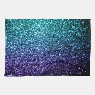 Beautiful Aqua blue Ombre glitter sparkles Towels