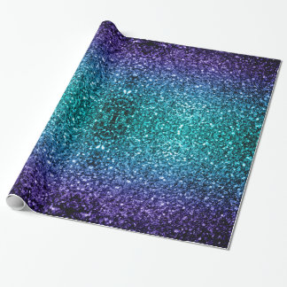 Beautiful Aqua blue Ombre glitter sparkles v2 Wrapping Paper