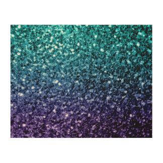 Beautiful Aqua blue Ombre glitter sparkles Wood Wall Art