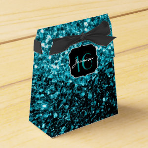 Beautiful Aqua Blue sparkles  favor box