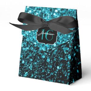 Beautiful Aqua Blue sparkles  favor box